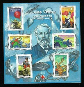 Bloc-Feuillet-2005-N-85-Timbres-France-Jules-Verne-Les-Voyages-Extraordinaires