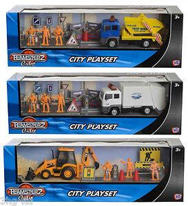 Teamsterz-Ciudad-Vehiculo-Parque-Infantil-Juguete-Skip-basura-camion-excavadora