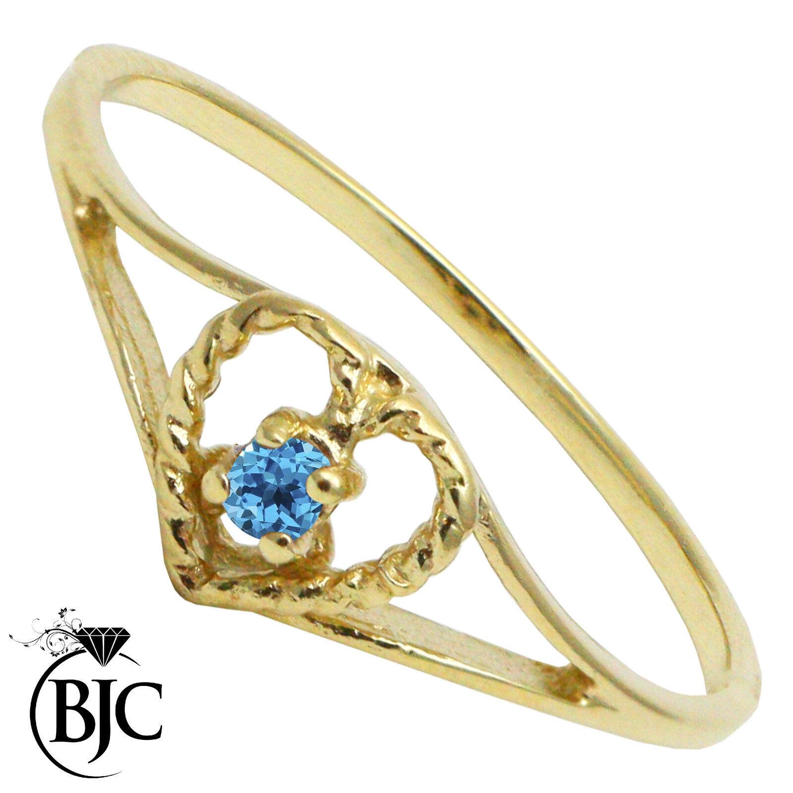 BJC 9 Ct Or yellow topaze bluee SOLITAIRE COEUR size N Bague de fiançailles