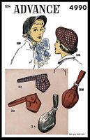 1940's Millinery Advance 4990 Hats Bags Purse Fascinator Fabric Sewing Pattern