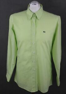 LACOSTE-Mens-Bright-Green-Long-Sleeved-SHIRT-Size-Large-L