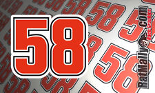 MARCO SIMONCELLI #58 RACE NUMBERS STICKERS x4 100mm * Super-Juicy Laminated