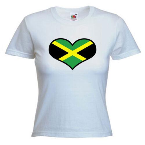 Jamaica Love Heart Flag Ladies Womens Lady Fit T Shirt