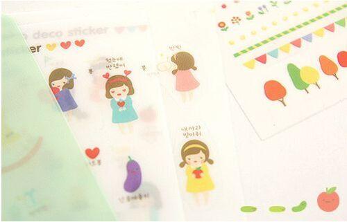 #19 Cute little piyo girl cartoon pvc kids stickers diary decoration 8 sheets