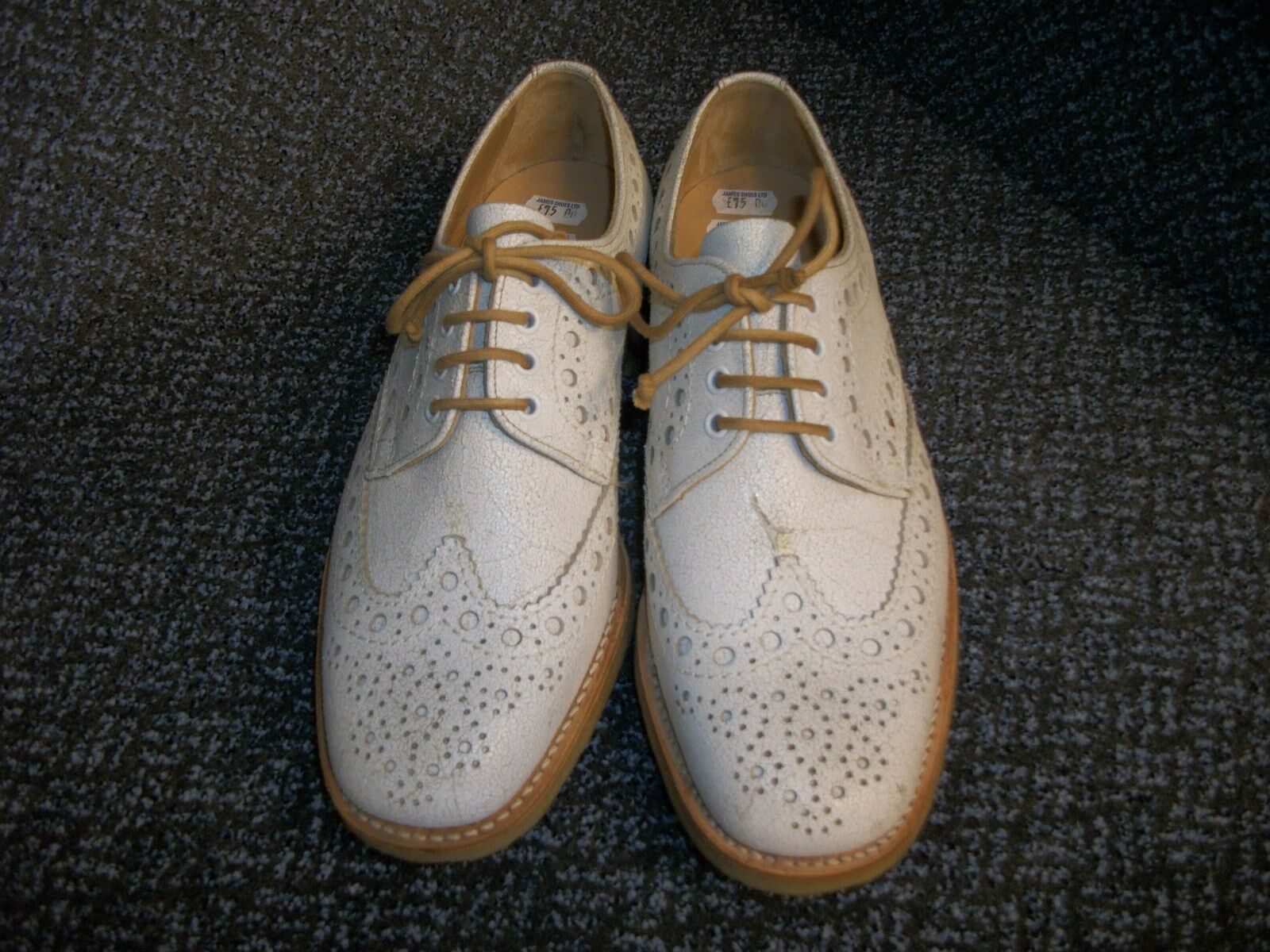 MEN'S SIZE 7 WHITE BROGUES (G FITTING)