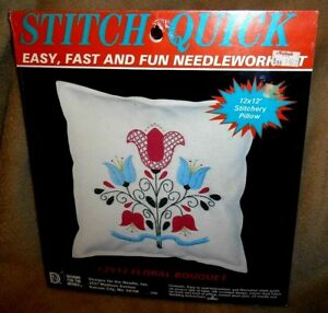 NEW-Vintage-2512-Floral-Bouquet-Crewel-Pillow-Kit-12-034-x-12-034-Designs-4-the-Needle