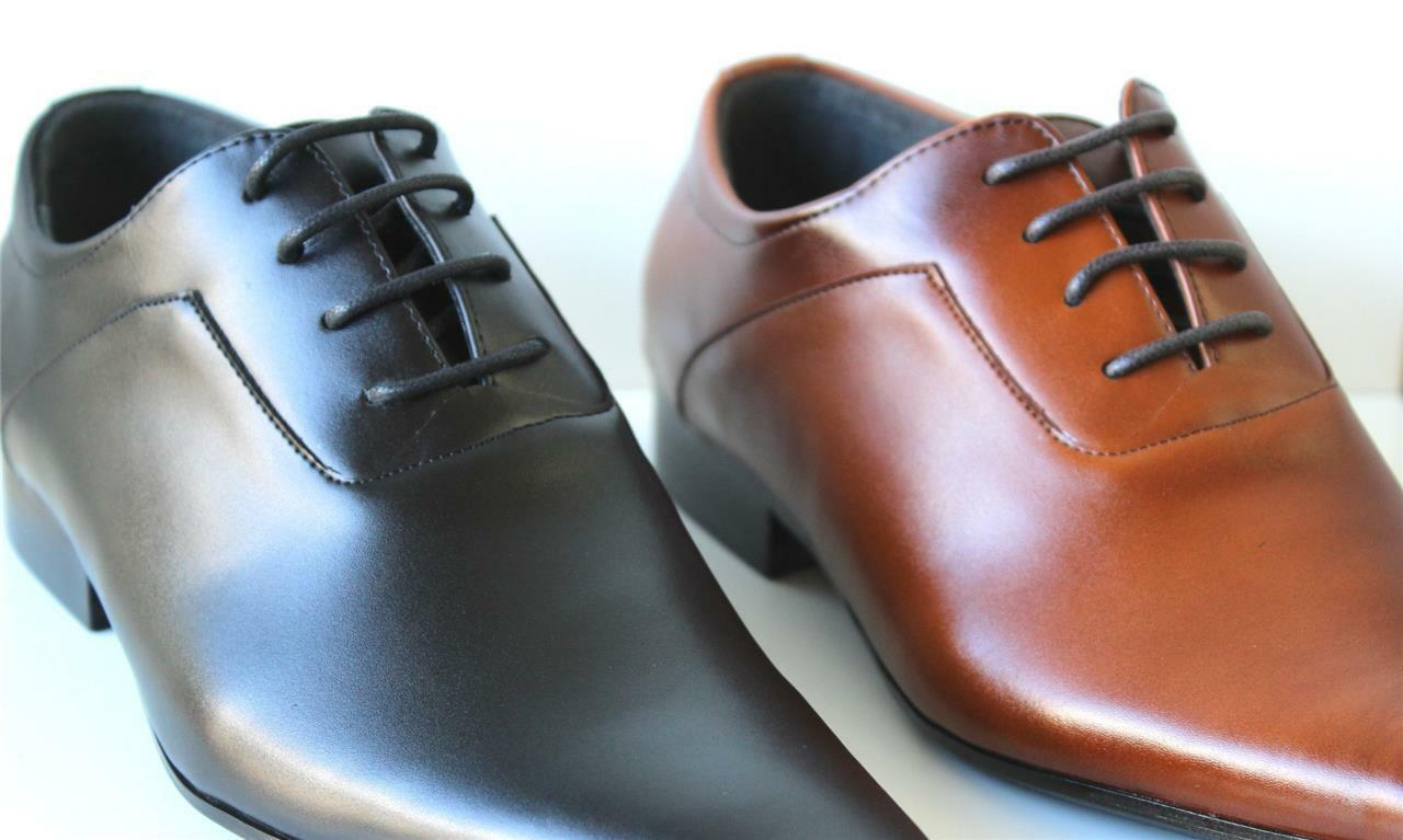 Men's Shoes BLACK or TAN 100% GENUINE LEATHER Sleek Dress Shoes Men's - to 45 -WF320-1 3ddd98
