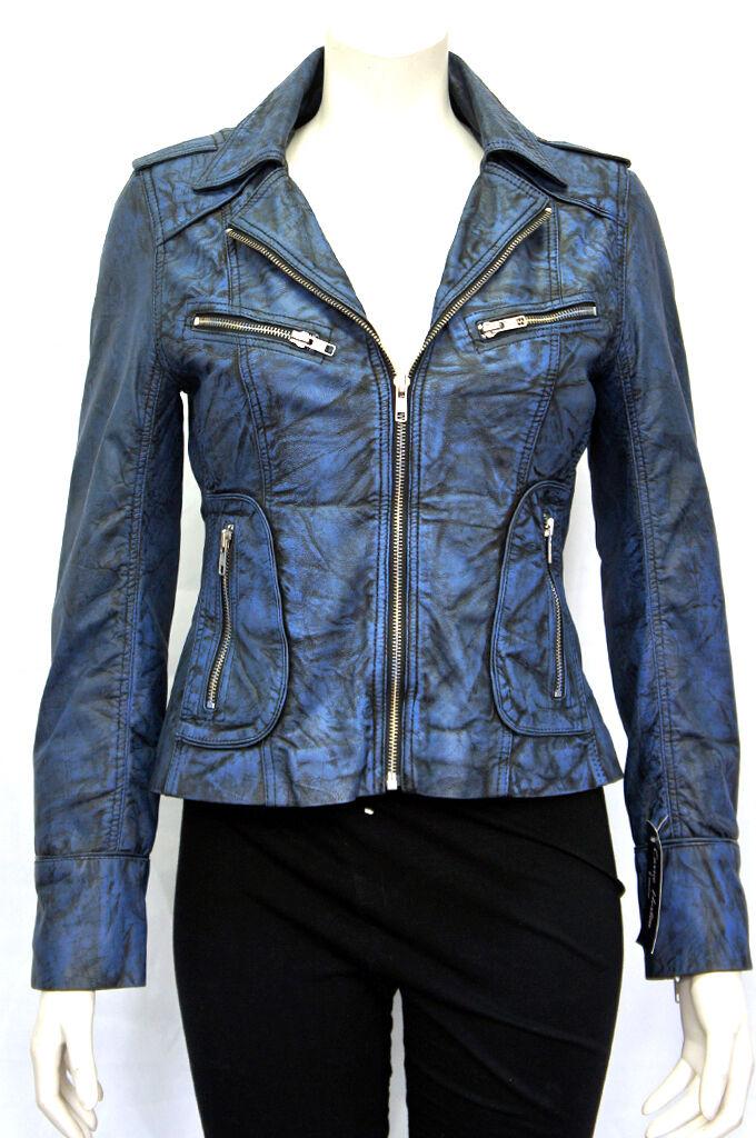 Candice Azul Para Damas Mujeres Vintage Estilo  Motero Lavado Oveja Chaqueta De Cuero Real  varios tamaños