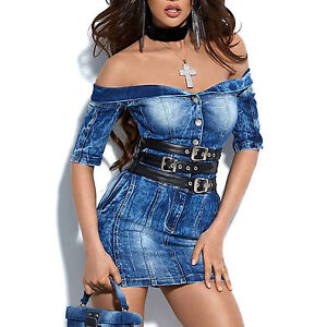 9d8ef0eee38a8c Das Bild wird geladen By-Alina-Damenkleid-Minikleid-Bodycon-Jeanskleid- Jeans-Kleid-