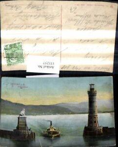 133257-Leuchtturm-Lindau-i-Bodensee-Hafeneinfahrt-Schiff-Dampfer-Lowendenkmal