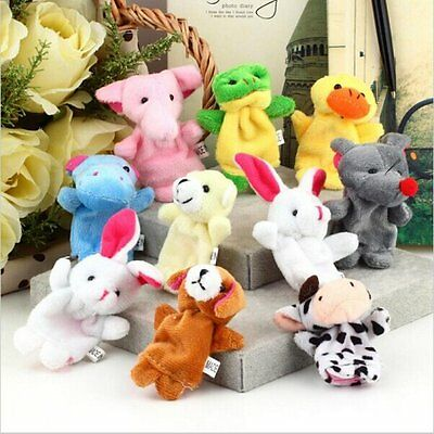 10pcs Zoo Animal Plush Finger Puppets Learn Fairy Tales Story Baby Kid Toys Doll