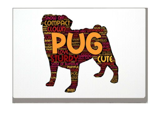 Pug Dog Art Print Pug Word Art A4 A3 Mothers Day Gift with Personalised Option