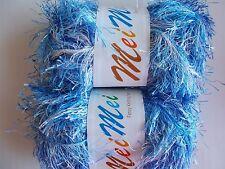 MeiMei Fancy Knitting Yarn, eyelash, blue tones with white, lot of 2