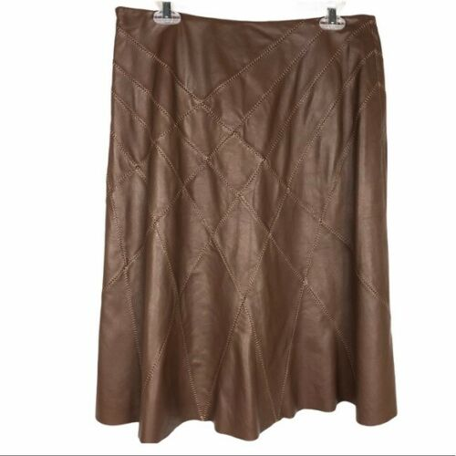 Worth Brown Stitched Fit & Flare Leather Skirt