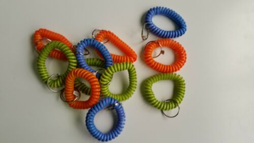 Multi-Colored Coil Key Chains Wrist Spiral Stretchable Ring Elastic 15