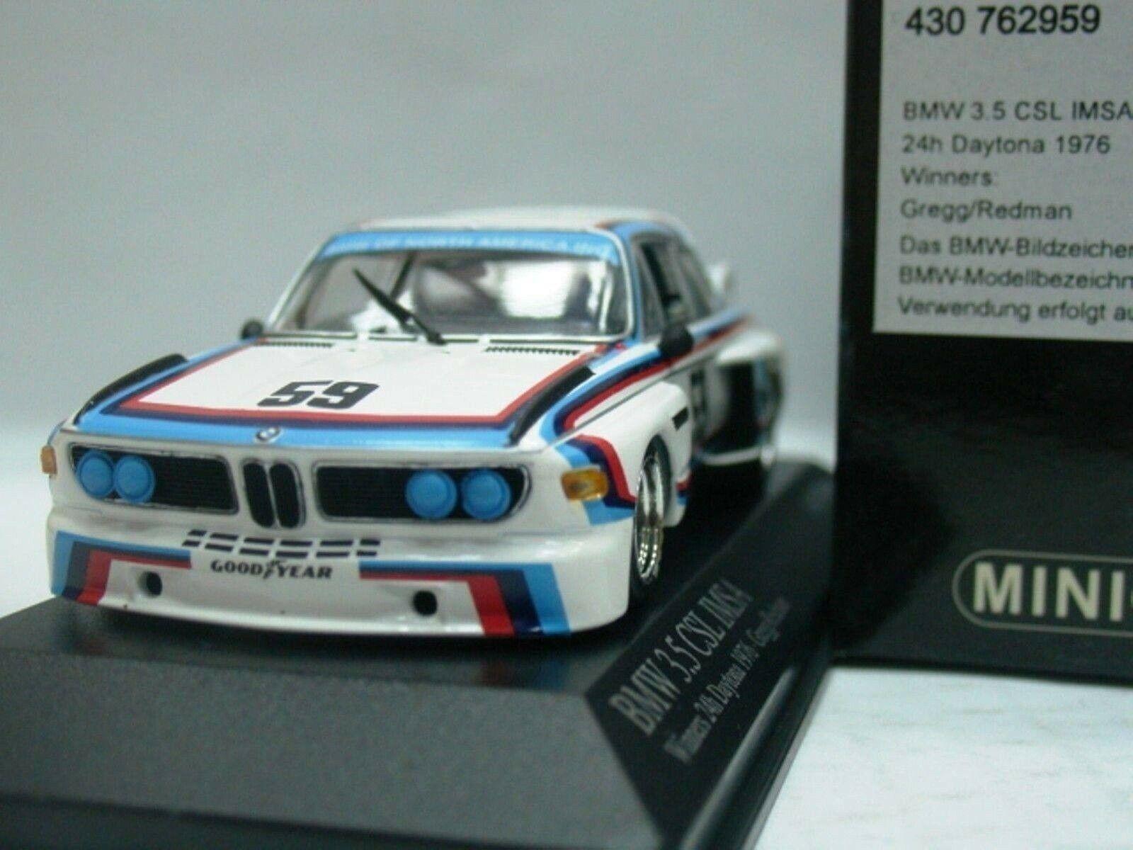 WOW EXTREMELY RARE BMW E09 3.5 CSL Winner Daytona 1976 1 43 Minichamps-635
