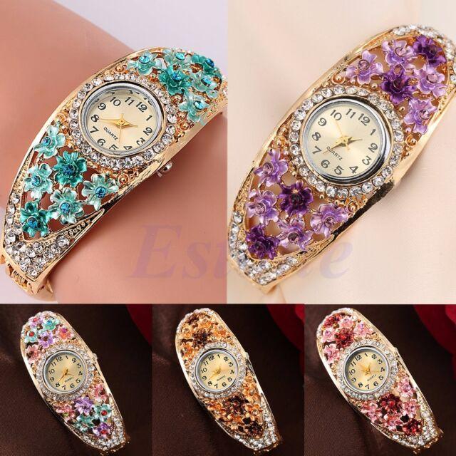 Stunning Women Bangle Crystal Flower Bracelet Jewelry Analog Quartz Wrist Watch