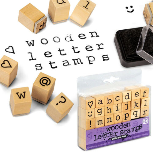 WOODEN LETTER STAMPS INK PAD CRAFT TOY GIFT KIDS BIRTHDAY PARTY BAG FILLER