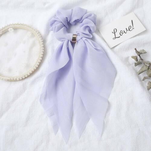 Girl/'s Chiffon Bow Long Ribbon Hair Scarf Elastic Scrunchie Rubber Rope Hair Tie