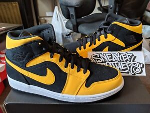 4a79497c88b615 Nike Air Jordan Retro I 1 Mid Reverse New Love Black University Gold ...