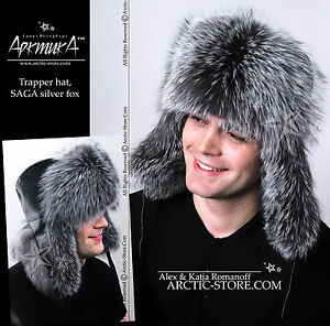 690cff98a Silver Fox fur hat from Russia, natural leather black top, Hand-made ...