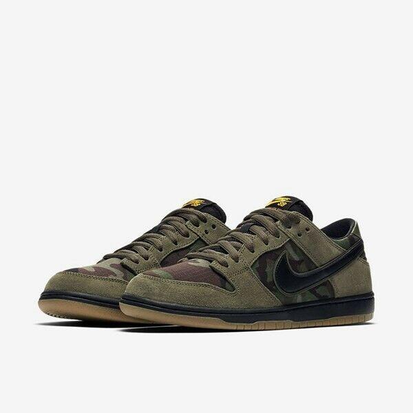 big sale cea80 93819 New Nike SB Zoom Dunk Low Pro Camo Medium Olive Black Size 13 854866 209