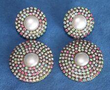 Huge Vintage Retro Prong Set PEARL Pink Green Rhinestone Statement Clip Earrings