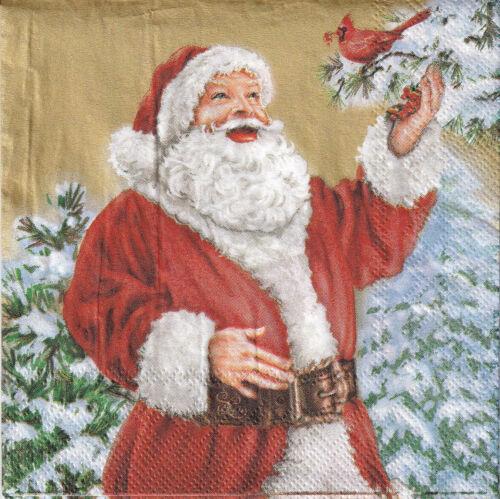 Santa with Bird 4 Napkins