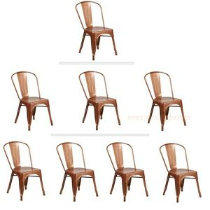 Genial Details About Copper Tolix Style Metal Stack Industrial Chic Dining Side  Chair 1, 3 Or 4 Qty