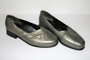 Kumfs-Brand-Pewter-Leather-Slip-On-Comfort-Shoes-Size-6-5-LIKE-NEW