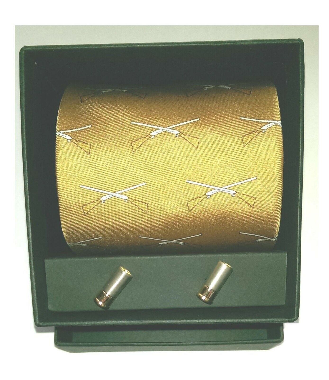 Soprano Clay Pigeon Shooting Tie with shotgun cartridge cufflinks in a gift box