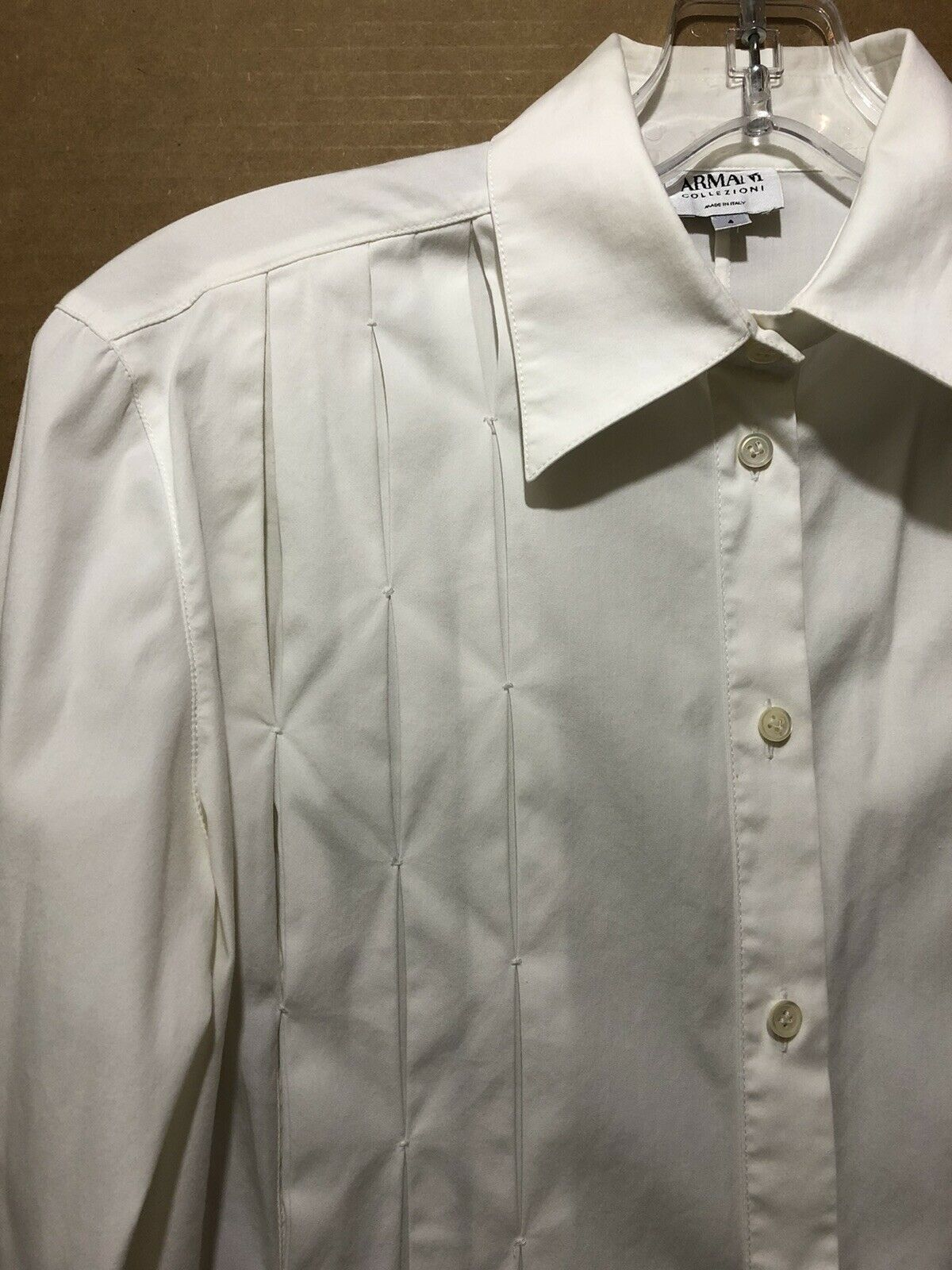 Armani Collezioni ITALY Ivory Pleated Button Up W… - image 2