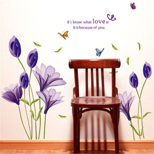 DIY Purple Lily Flower Wall Stickers Decorative Removable Waterproof StickerBCD
