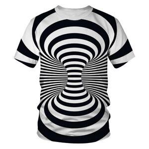3D-Tee-Shirt-Mens-Women-Hypnosis-Swirl-Print-Short-Sleeve-Hipster-Casual-T-shirt