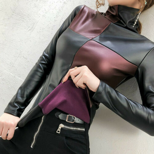 Lady PU Leather Patchwork T Shirt Blouse High Neck Slim Fitted Tops Casual Soft