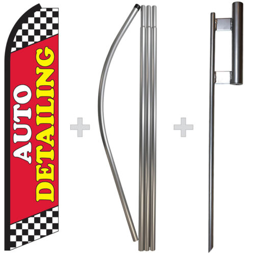 Auto Detailing 15/' Tall Swooper Flag /& Pole Kit Feather Super Bow Banner