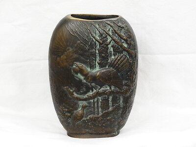 Vase Sehr Schwer!! 100% Bronze Um 1940/50 Auerhahn Elegant Appearance Dedicated Antike Bronze Vase