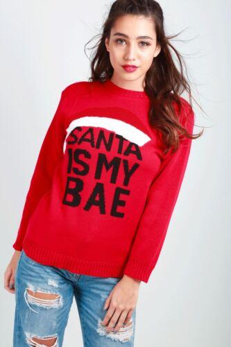 Donna Natale Babbo Natale Barba Con Cintura Costume Lavorato A Maglia Sweater Jumper