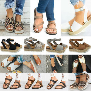 Women-Flat-Platform-Low-Wedge-Heel-Sandals-Open-Toe-Summer-Ankle-Strap-Pump-Shoe