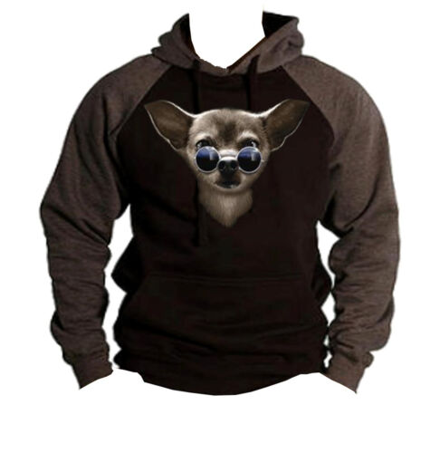 New Men/'s Nerd Chihuahua Black Grey Raglan Hoodie Sweater Hipster Dog Glasses