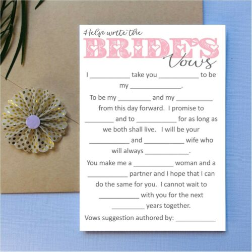 Help write the Brides Vows Bridal Shower Hens Night Game Party Fun bride to be