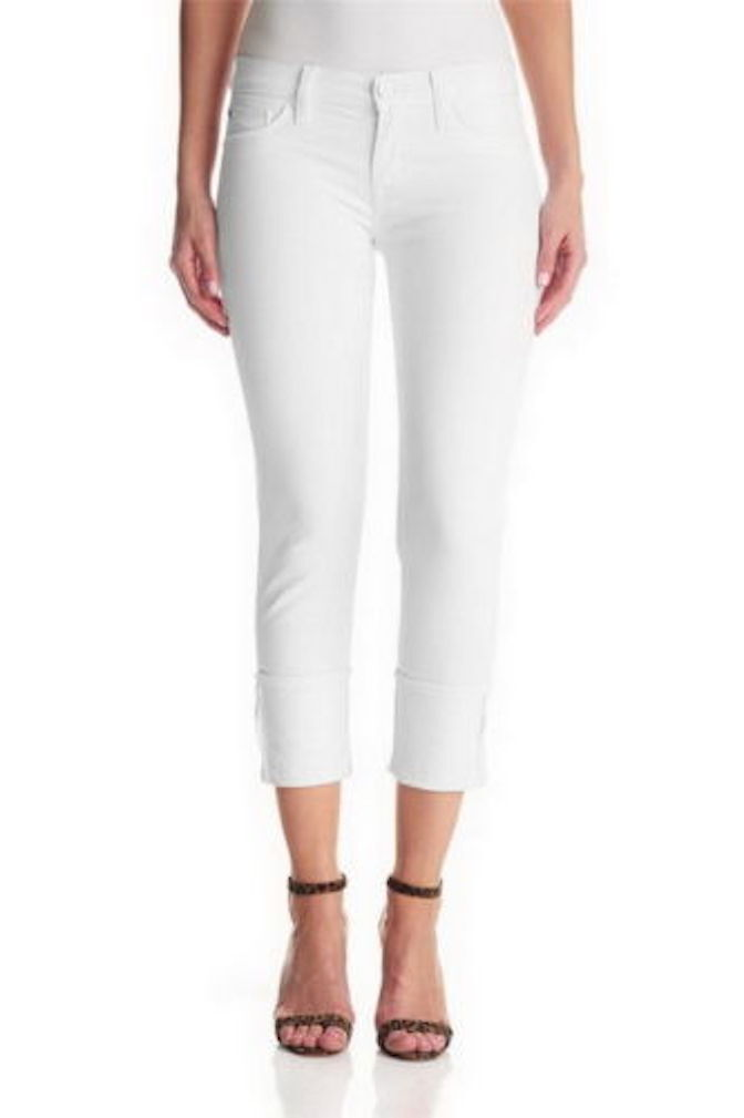 Hudson Crop Muse Skinny with 5  Cuff White 26 x 24.5 NWT