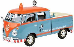 VW-T1-blau-DoKa-mit-Pritsche-VW-Kundendienst-Massstab-1-24-von-Motormax