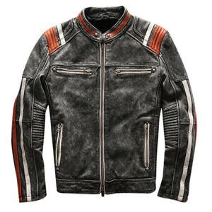 Men/'s Vintage Motorcycle Cafe Racer Biker Retro Moto Distressed Leather Jacket