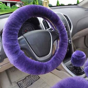 3Pcs-set-Winter-purple-warm-plush-car-steering-wheel-cover-handbrake-covers-PG