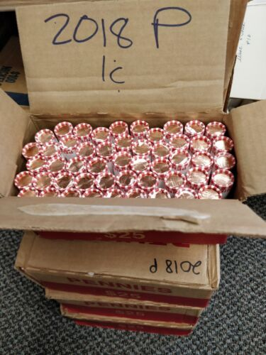 2018 P /& D BU ORIGINAL BANK WRAPPED LINCOLN CENT PENNY ROLL 2 ROLLS NEW