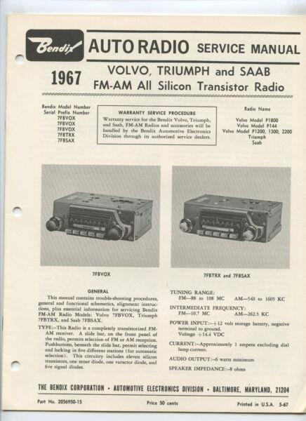 Auto Radio Service Manual Volvo Triumph Saab Fm-am Transistor Radio Bendix 1967