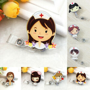 Cartoon Retractable Badge Reel Belt Nurse Doctor ID Name Card Holder Clip