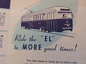 "1940s BOSTON BOSTON BOSTON ""EL"" Elevated Subway Train Brochure PCC TROLLEY !"