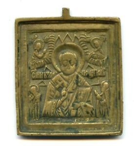 Antique-XVIII-XIXc-Russian-Hand-Made-BRONZE-Small-Icon-Saint-Nicholas-RARE